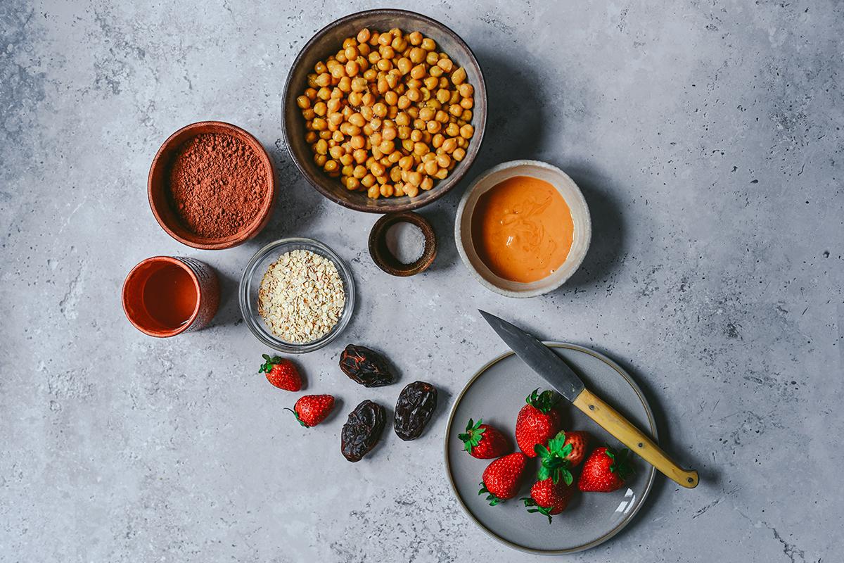 ingredientes para el brownie de garbanzos